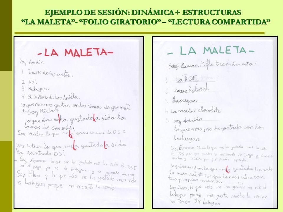 EJEMPLO DE SESIÓN: DINÁMICA + ESTRUCTURAS LA MALETA - FOLIO GIRATORIO – LECTURA COMPARTIDA