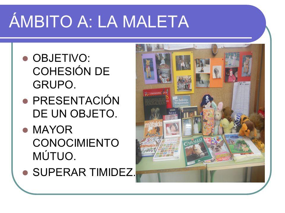 ÁMBITO A: LA MALETA OBJETIVO: COHESIÓN DE GRUPO.