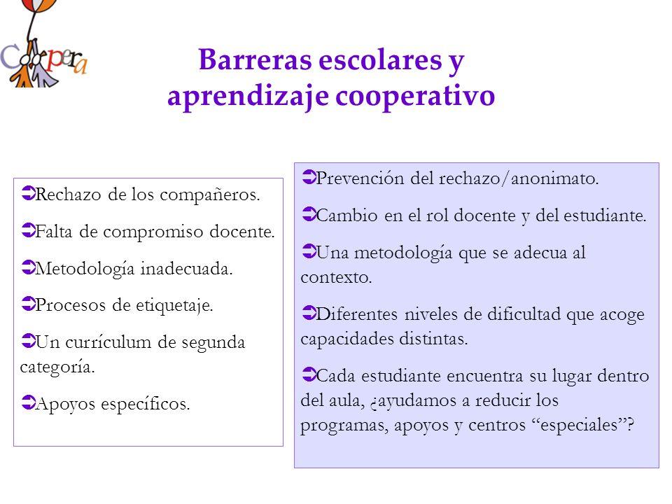 Barreras escolares y aprendizaje cooperativo