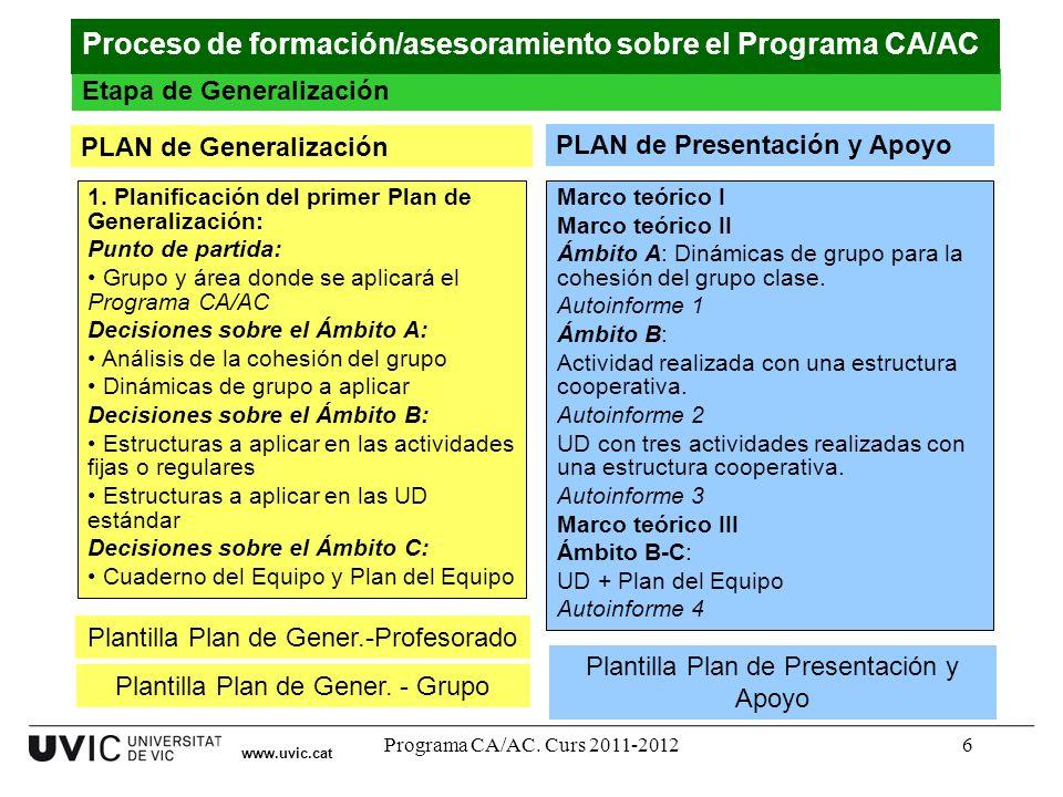 Proceso de formación/asesoramiento sobre el Programa CA/AC