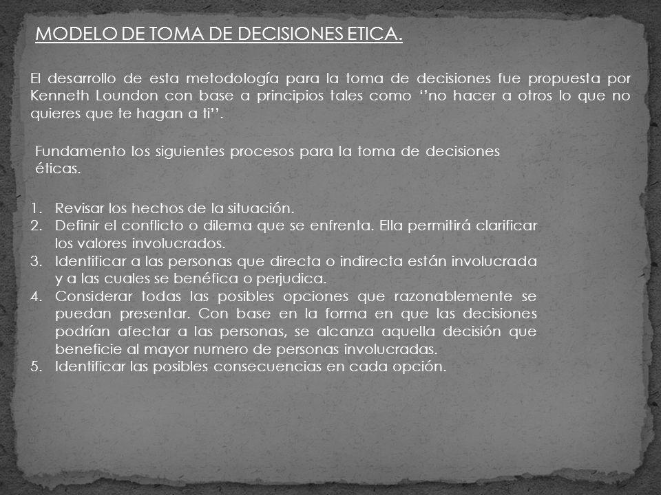 MODELO DE TOMA DE DECISIONES ETICA.