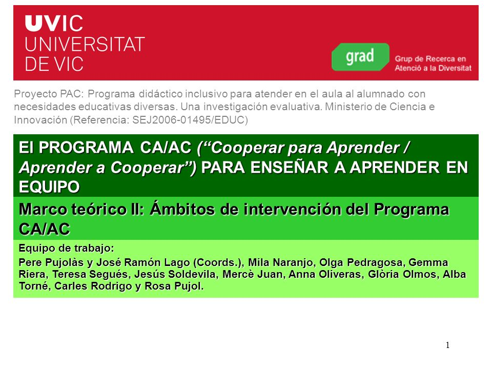 Marco teórico II: Ámbitos de intervención del Programa CA/AC