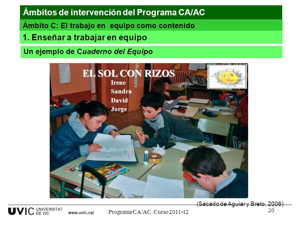 EL SOL CON RIZOS Ámbitos de intervención del Programa CA/AC