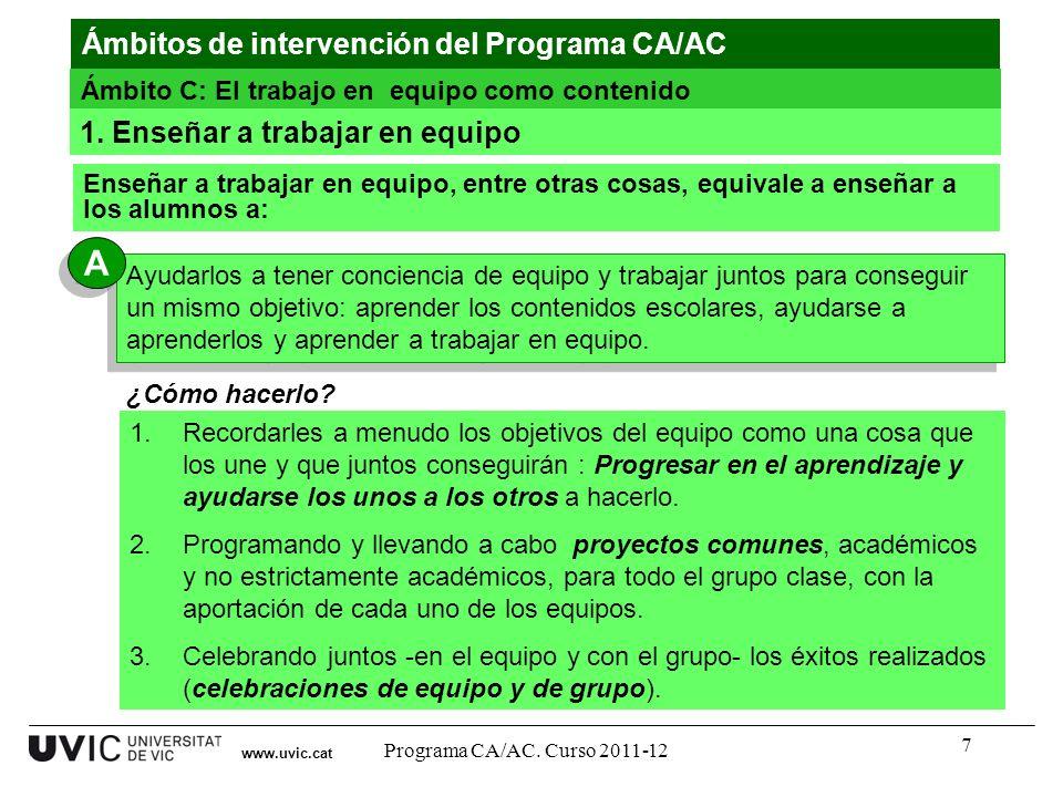 A Ámbitos de intervención del Programa CA/AC