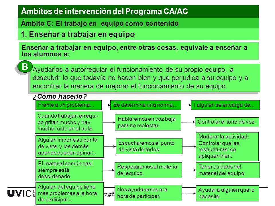 B Ámbitos de intervención del Programa CA/AC
