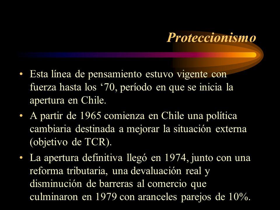 ProteccionismoEsta línea de pensamiento estuvo vigente con fuerza hasta los '70, período en que se inicia la apertura en Chile.
