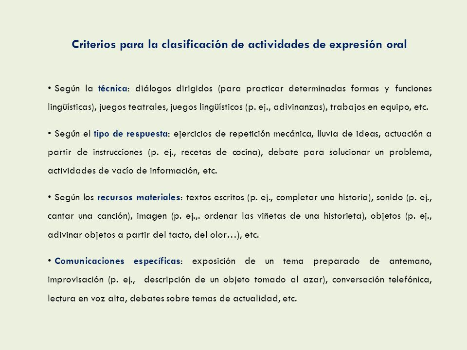 Criterios para la clasificación de actividades de expresión oral