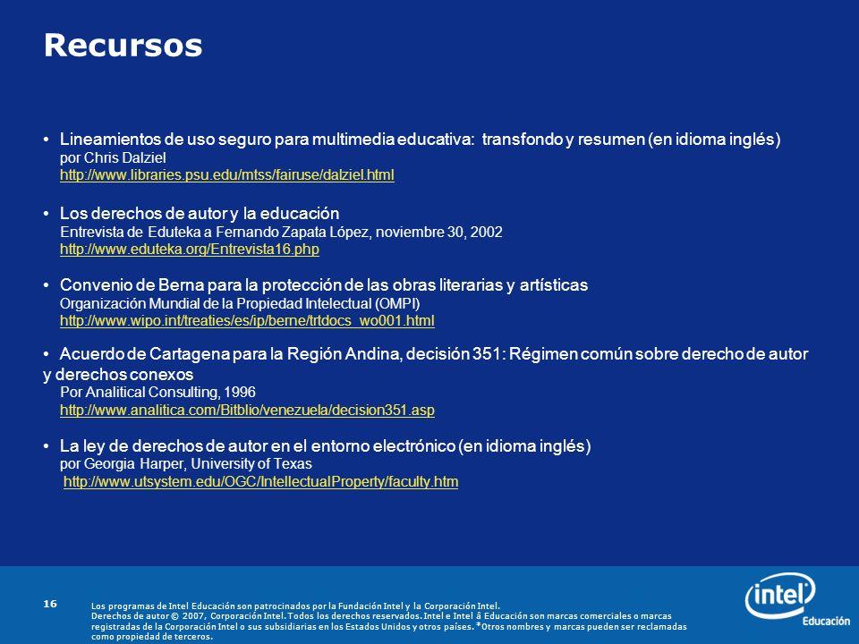 Recursos Lineamientos de uso seguro para multimedia educativa: transfondo y resumen (en idioma inglés)