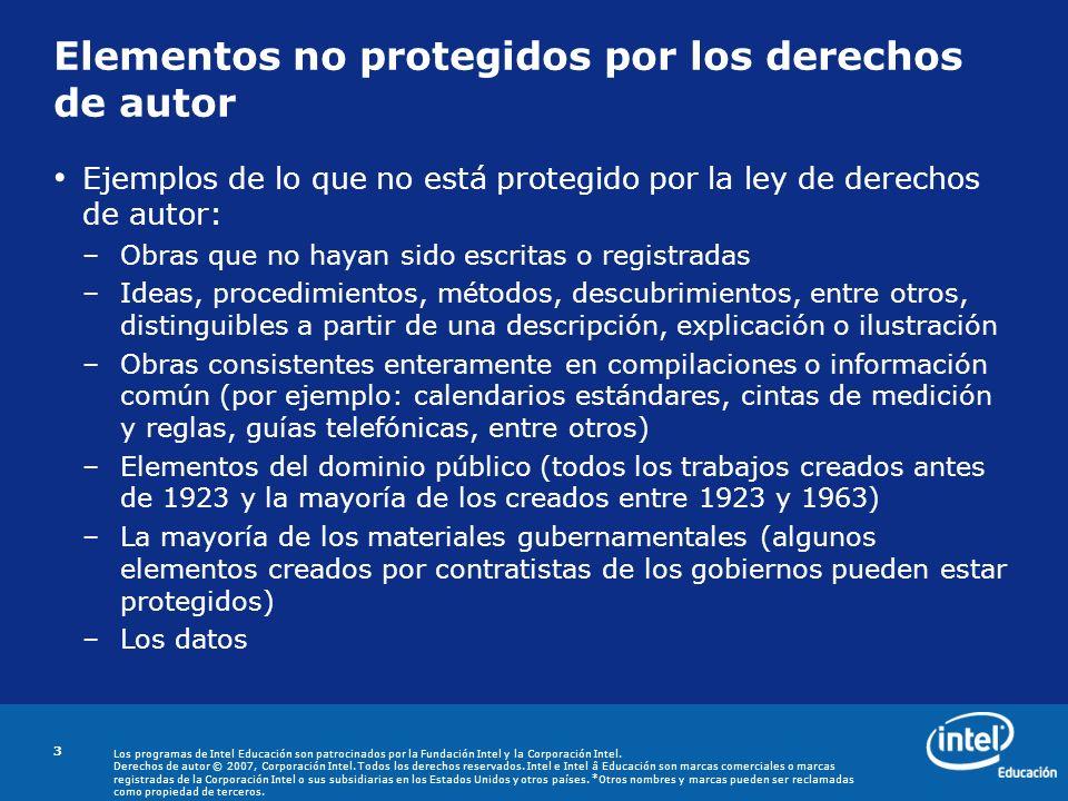 Elementos no protegidos por los derechos de autor