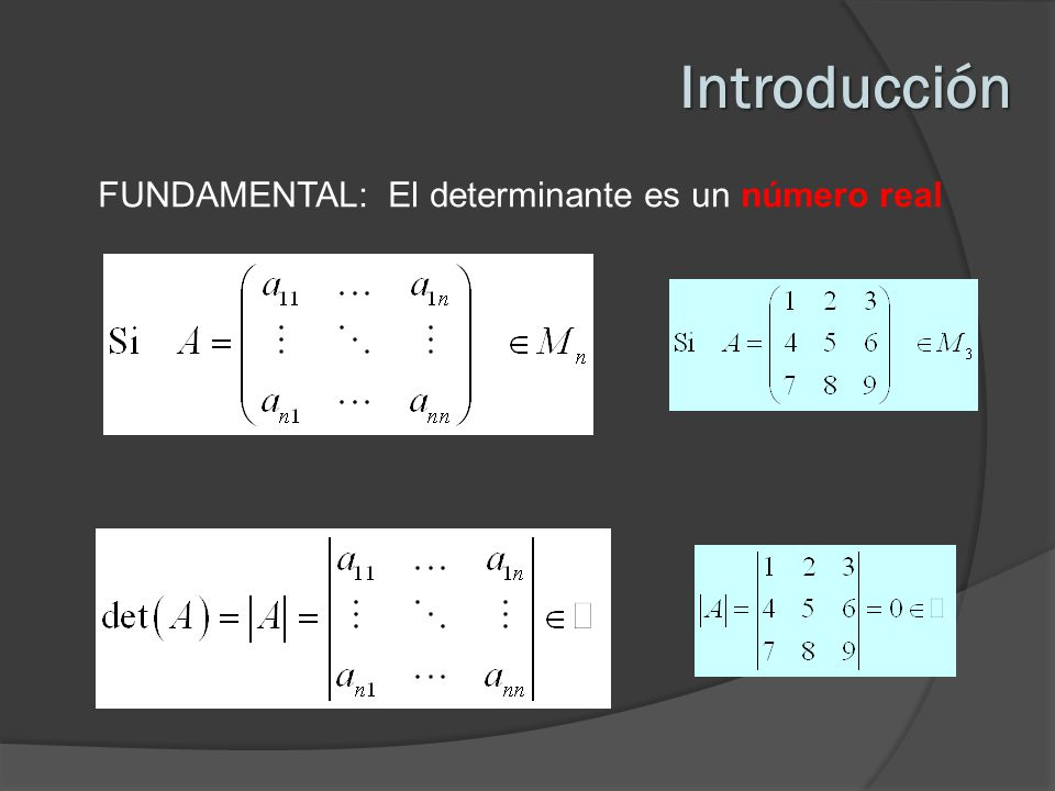 Introducción FUNDAMENTAL: El determinante es un número real