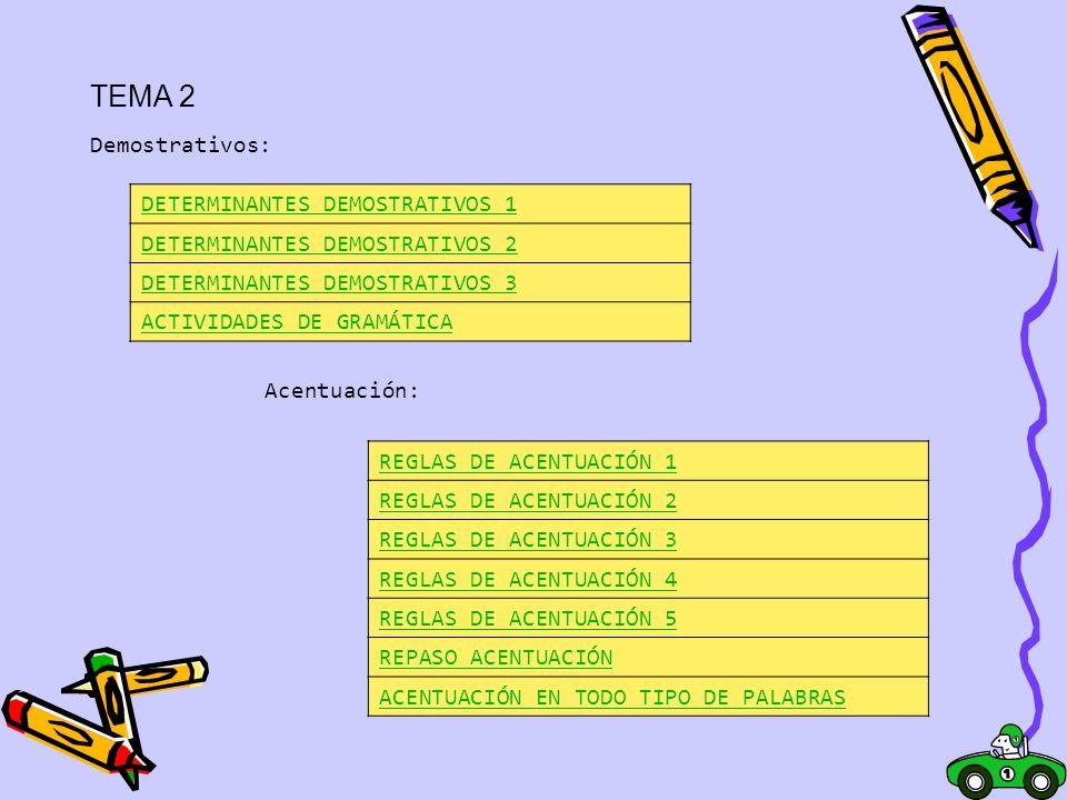 TEMA 2 DETERMINANTES DEMOSTRATIVOS 1 Demostrativos: