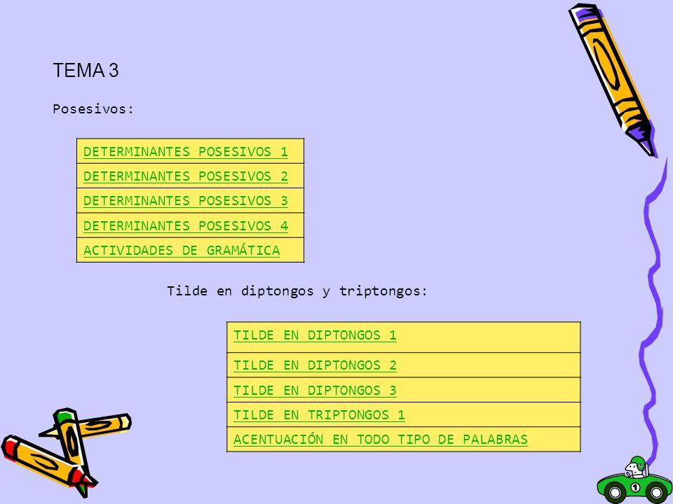 TEMA 3 DETERMINANTES POSESIVOS 1 Posesivos: DETERMINANTES POSESIVOS 2