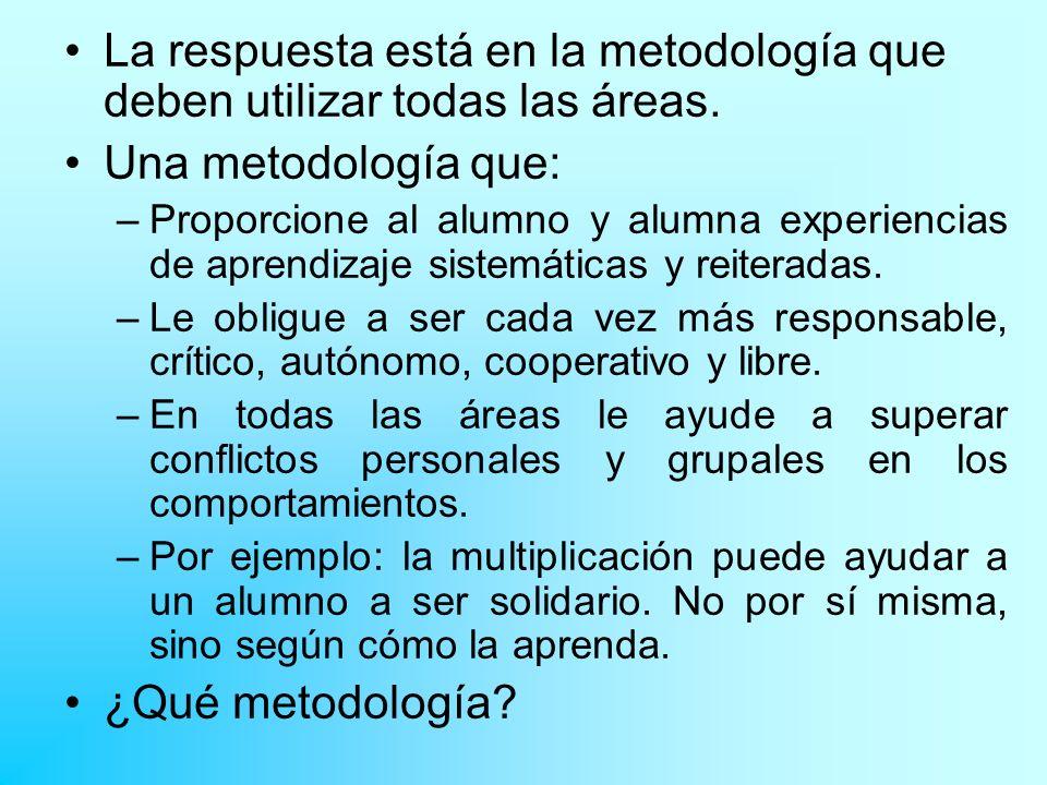 La respuesta está en la metodología que deben utilizar todas las áreas.