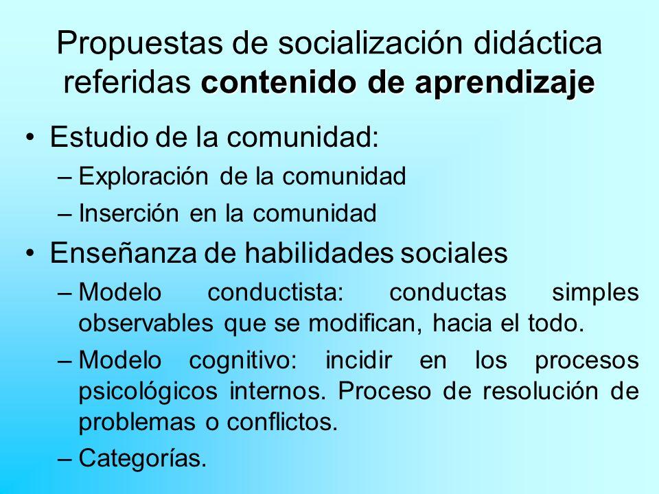 Propuestas de socialización didáctica referidas contenido de aprendizaje