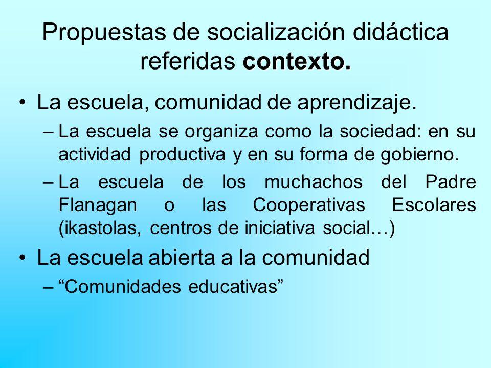 Propuestas de socialización didáctica referidas contexto.