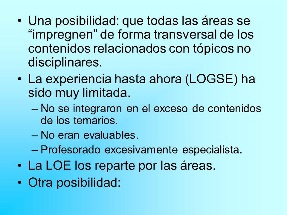 La experiencia hasta ahora (LOGSE) ha sido muy limitada.