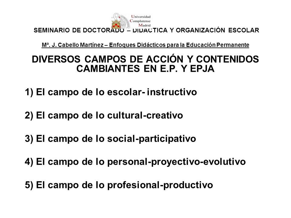 DIVERSOS CAMPOS DE ACCIÓN Y CONTENIDOS CAMBIANTES EN E.P. Y EPJA