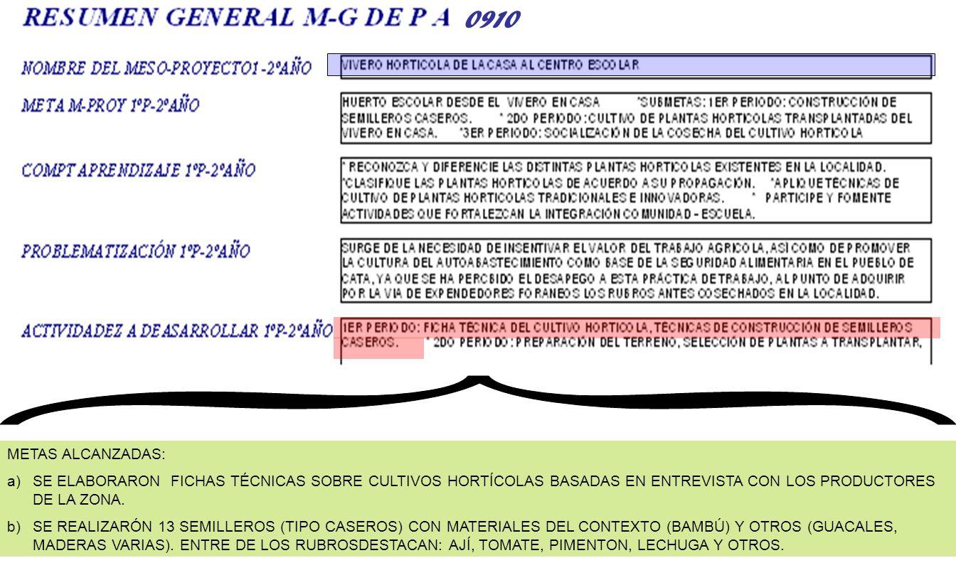 { 0910. METAS ALCANZADAS: SE ELABORARON FICHAS TÉCNICAS SOBRE CULTIVOS HORTÍCOLAS BASADAS EN ENTREVISTA CON LOS PRODUCTORES DE LA ZONA.