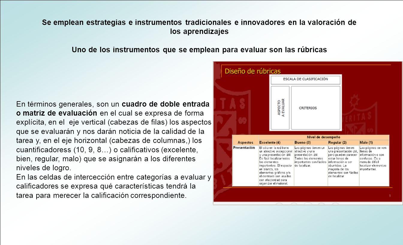 Uno de los instrumentos que se emplean para evaluar son las rúbricas