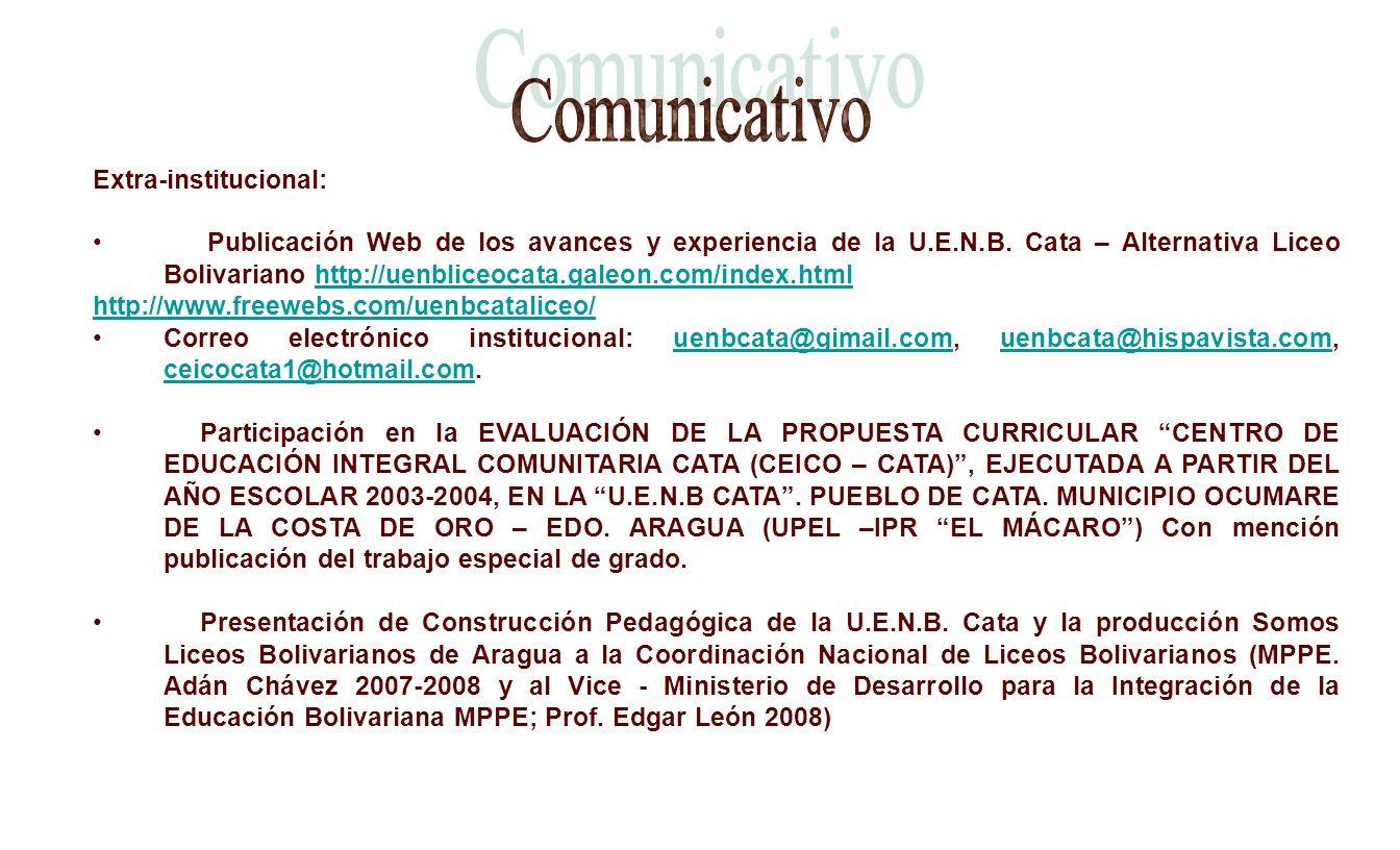 Comunicativo Extra-institucional: