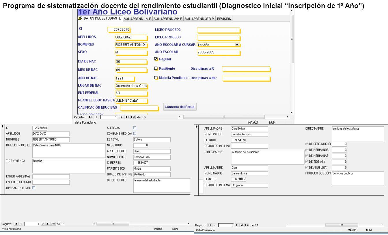 Programa de sistematización docente del rendimiento estudiantil (Diagnostico Inicial inscripción de 1º Año )