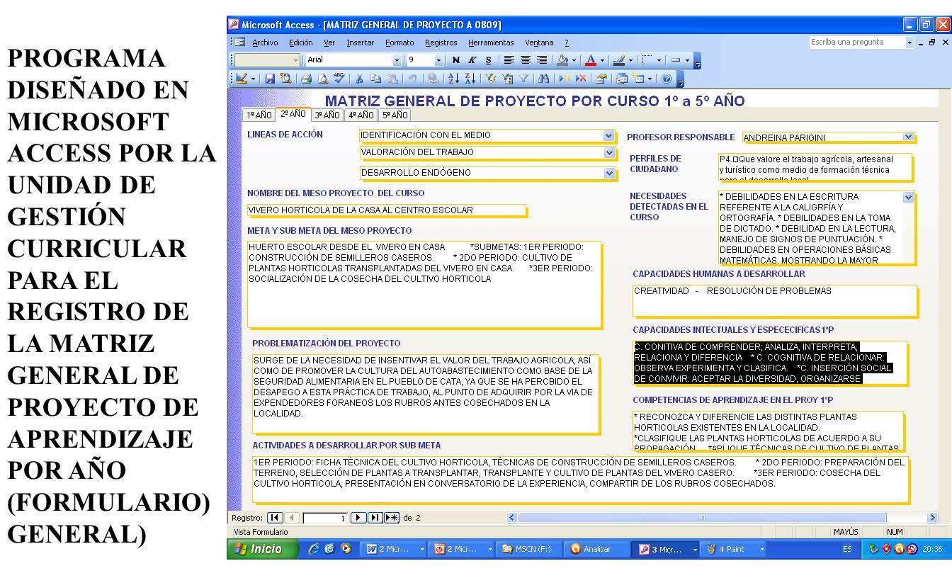 PROGRAMA DISEÑADO EN MICROSOFT ACCESS POR LA UNIDAD DE GESTIÓN CURRICULAR PARA EL REGISTRO DE LA MATRIZ GENERAL DE PROYECTO DE APRENDIZAJE POR AÑO (FORMULARIO) GENERAL)