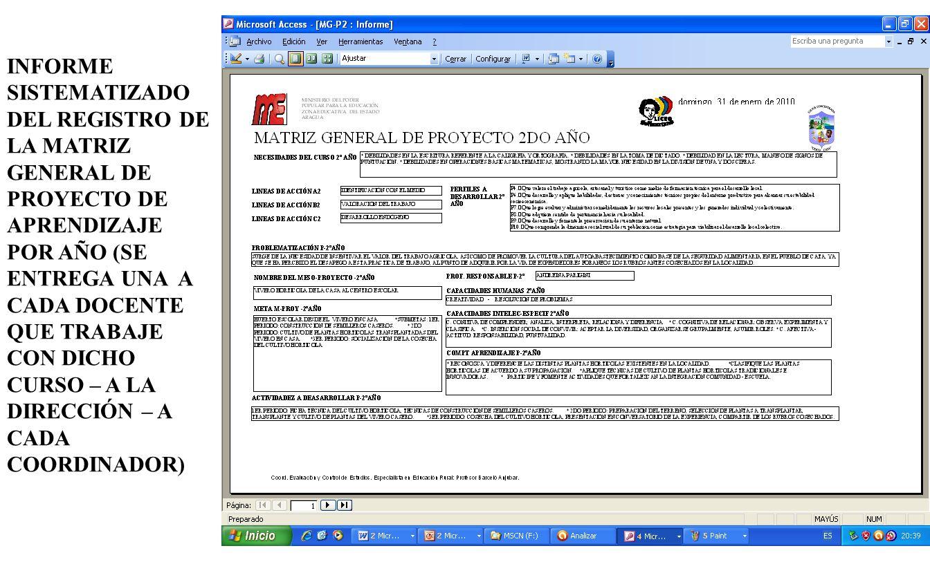 INFORME SISTEMATIZADO DEL REGISTRO DE LA MATRIZ GENERAL DE PROYECTO DE APRENDIZAJE POR AÑO (SE ENTREGA UNA A CADA DOCENTE QUE TRABAJE CON DICHO CURSO – A LA DIRECCIÓN – A CADA COORDINADOR)