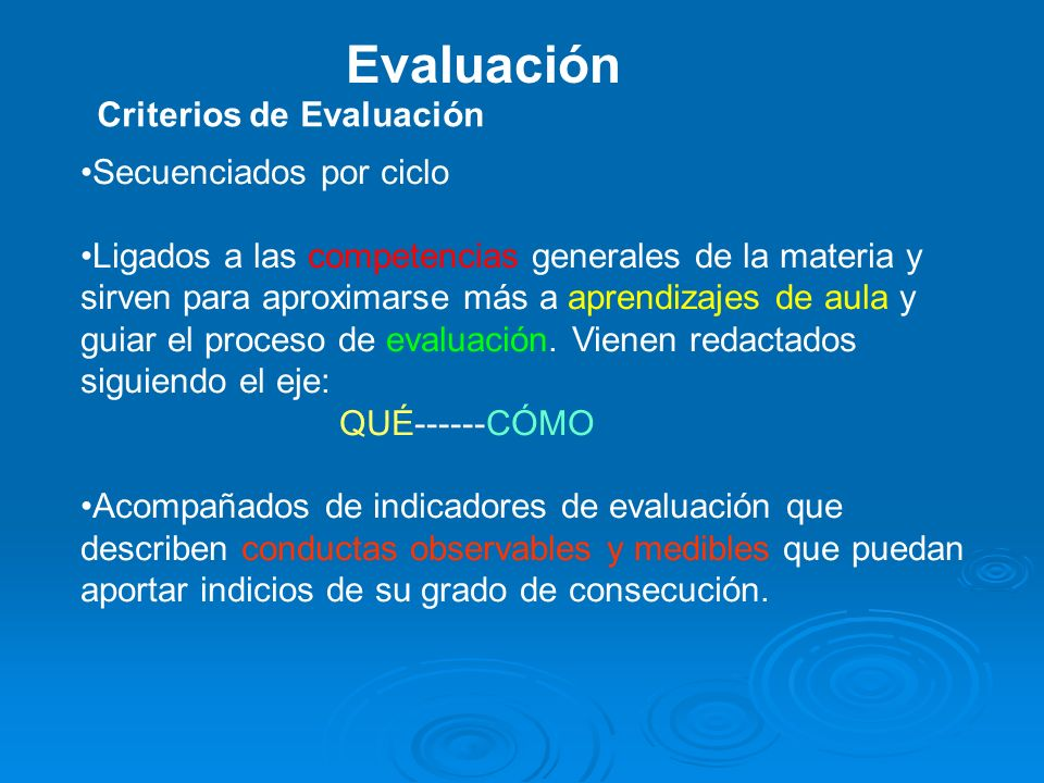 Evaluación Criterios de Evaluación Secuenciados por ciclo
