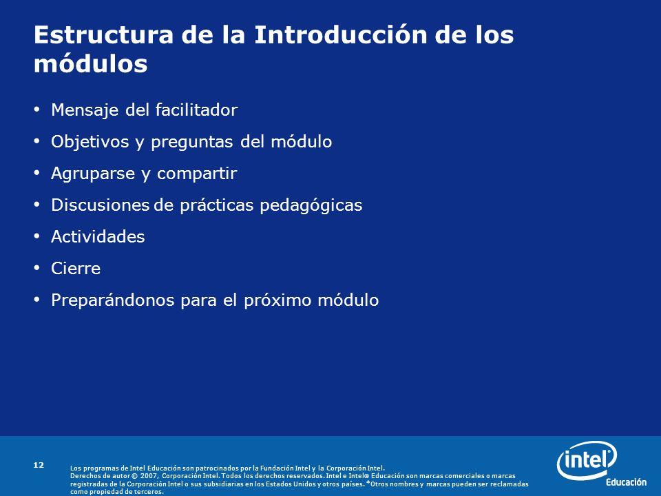 Estructura de la Introducción de los módulos