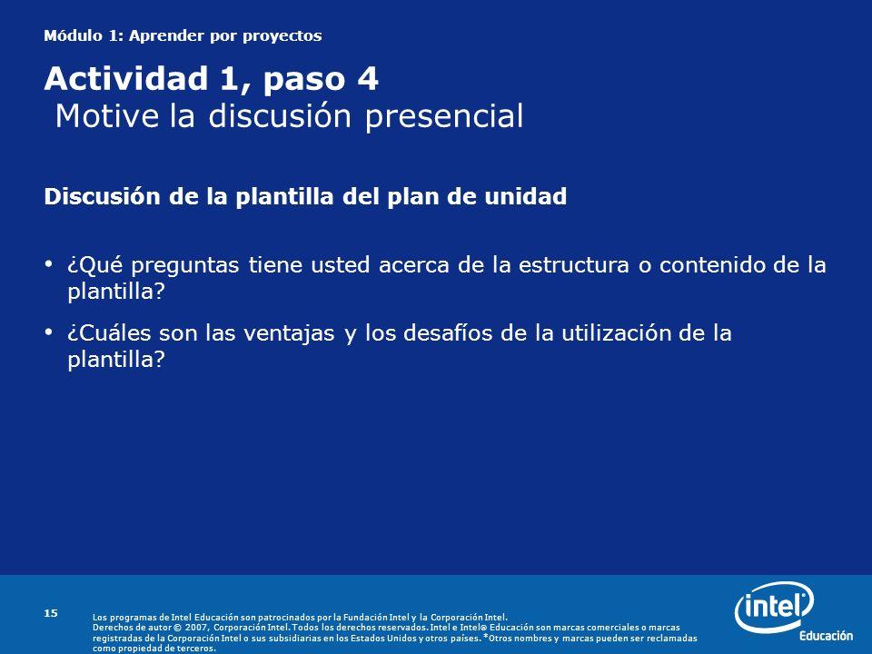 Discusión de la plantilla del plan de unidad