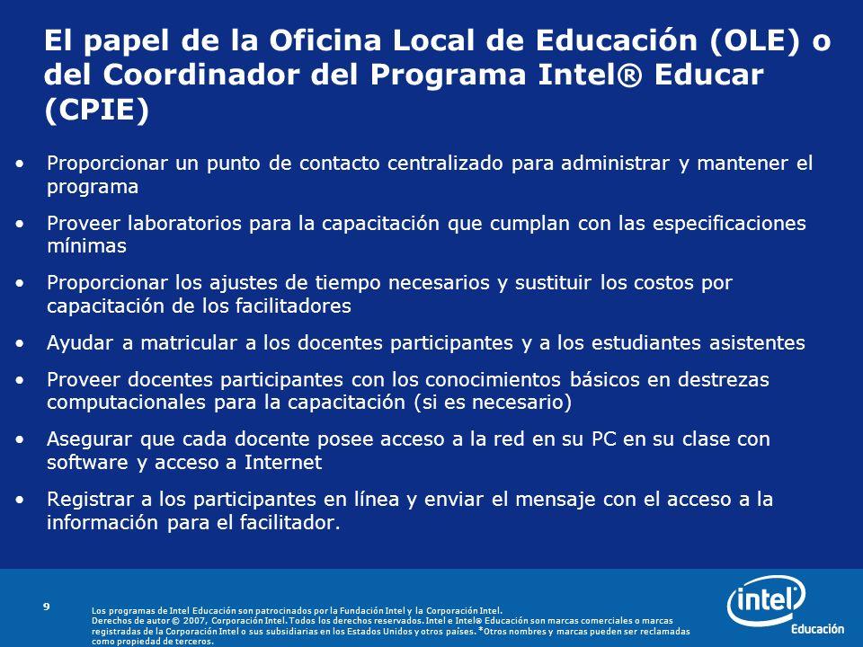 El papel de la Oficina Local de Educación (OLE) o del Coordinador del Programa Intel® Educar (CPIE)