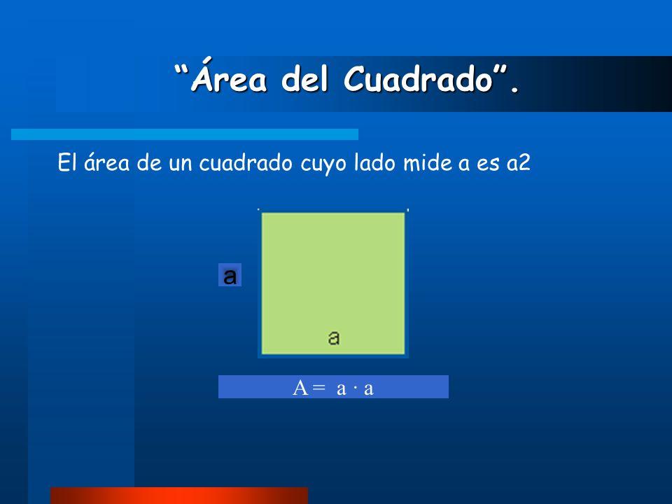 Área del Cuadrado . a El área de un cuadrado cuyo lado mide a es a2