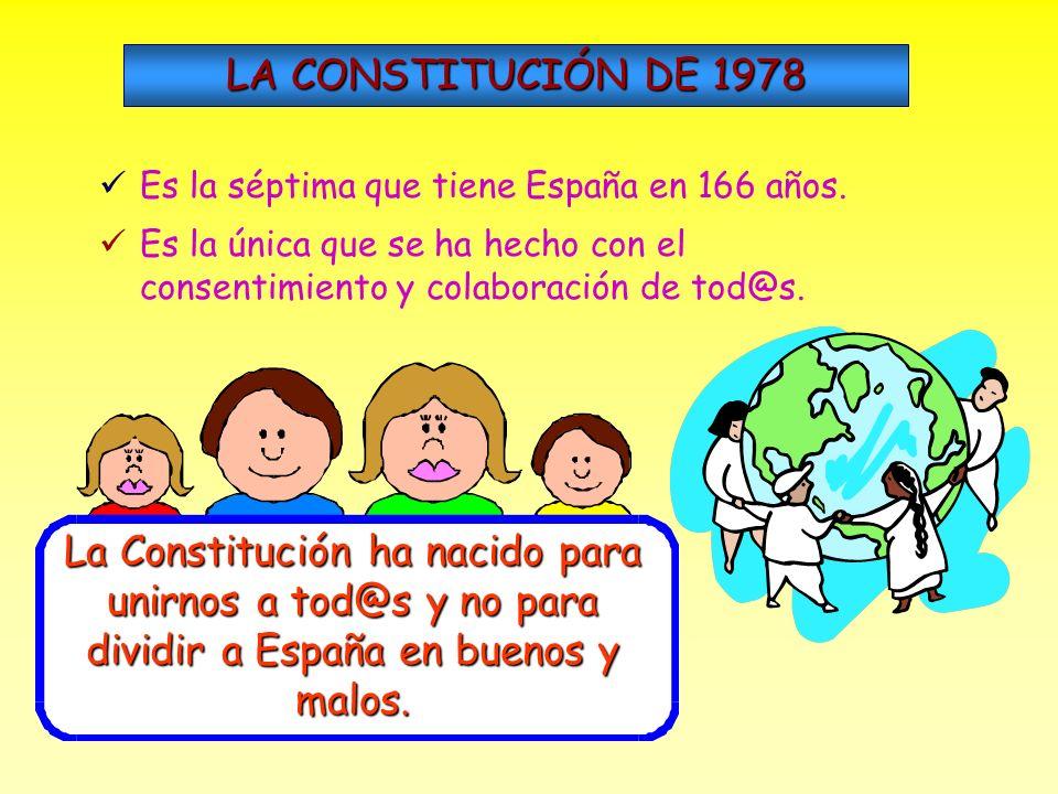 LA CONSTITUCIÓN DE 1978 Es la séptima que tiene España en 166 años. Es la única que se ha hecho con el consentimiento y colaboración de tod@s.