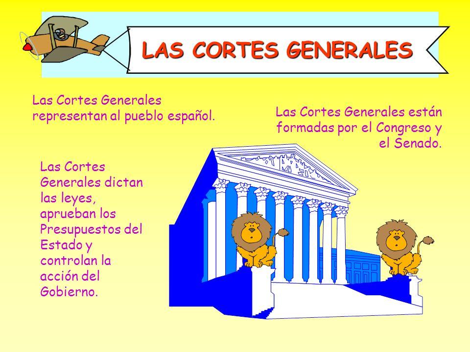 LAS CORTES GENERALES Las Cortes Generales representan al pueblo español. Las Cortes Generales están formadas por el Congreso y el Senado.