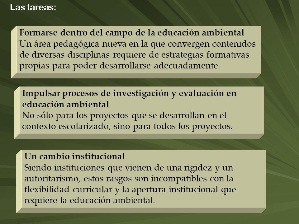 Las tareas: Formarse dentro del campo de la educación ambiental.
