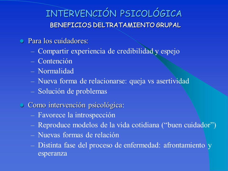 INTERVENCIÓN PSICOLÓGICA BENEFICIOS DELTRATAMIENTO GRUPAL