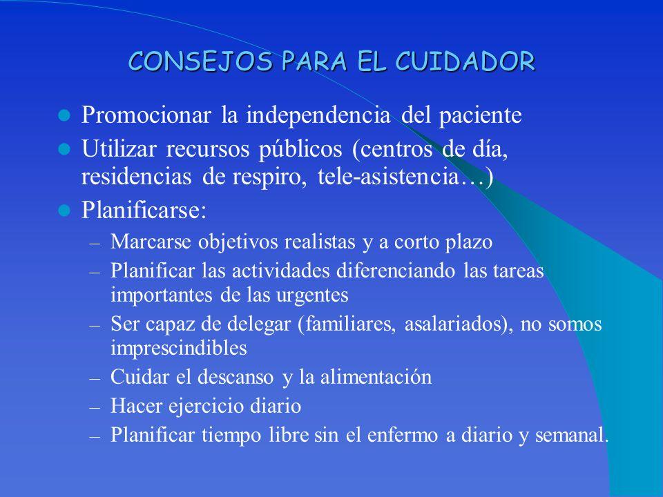 CONSEJOS PARA EL CUIDADOR