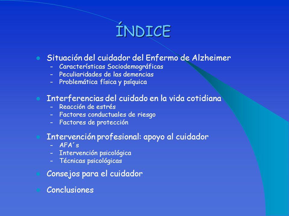 ÍNDICE Situación del cuidador del Enfermo de Alzheimer