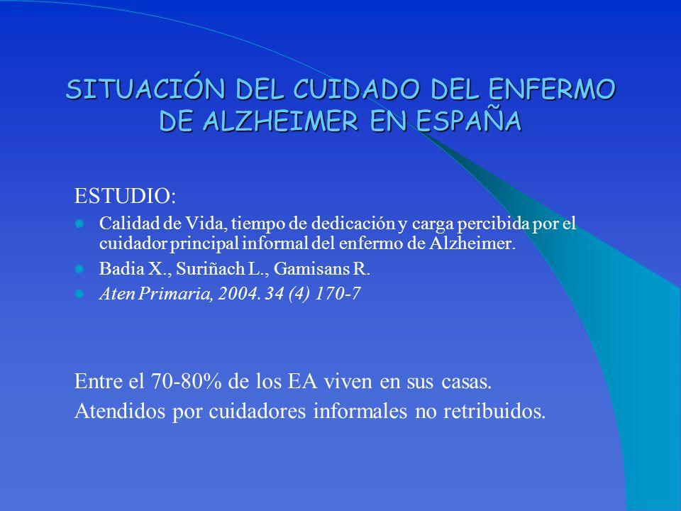 SITUACIÓN DEL CUIDADO DEL ENFERMO DE ALZHEIMER EN ESPAÑA
