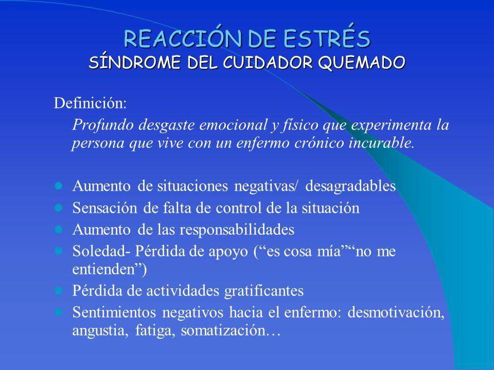 REACCIÓN DE ESTRÉS SÍNDROME DEL CUIDADOR QUEMADO