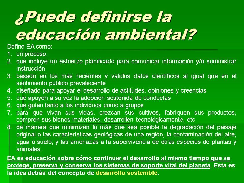 ¿Puede definirse la educación ambiental