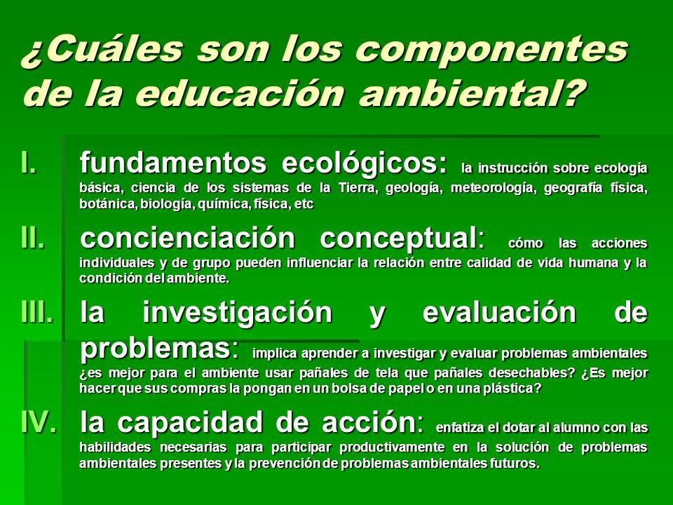 ¿Cuáles son los componentes de la educación ambiental