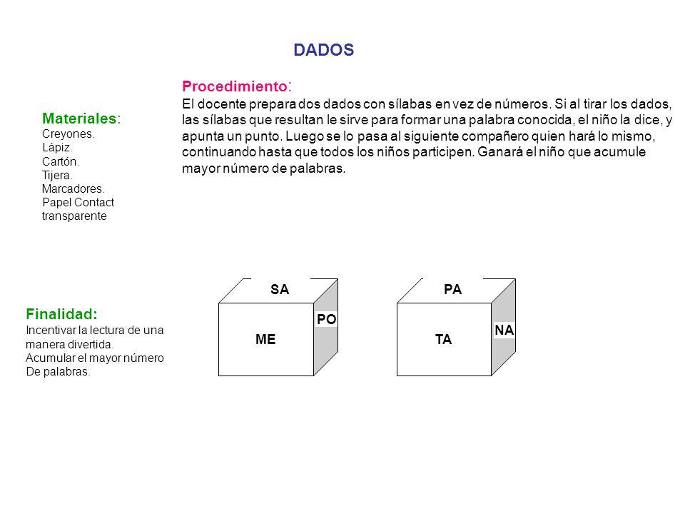 DADOS Procedimiento: Materiales: Finalidad: