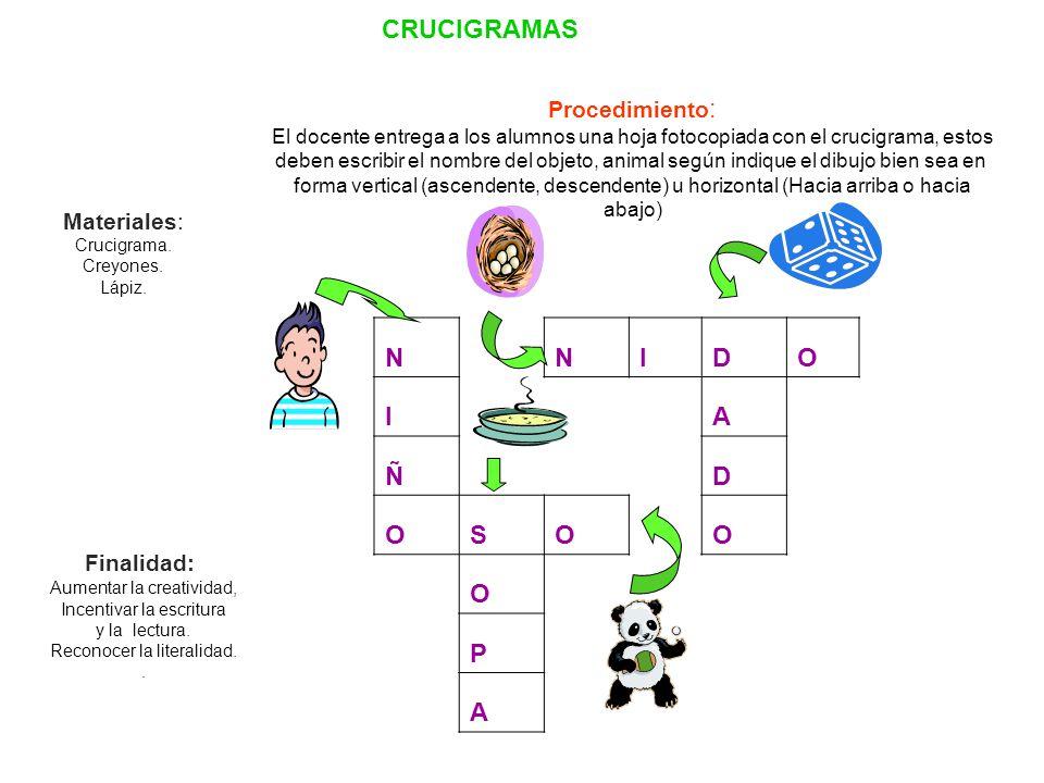 CRUCIGRAMAS N I D O A Ñ S P Procedimiento: Materiales: Finalidad: