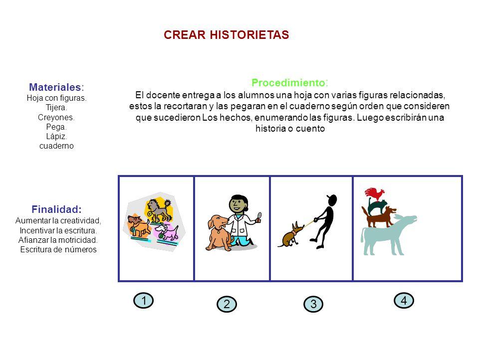 CREAR HISTORIETAS 1 4 2 3 Procedimiento: Materiales: Finalidad: