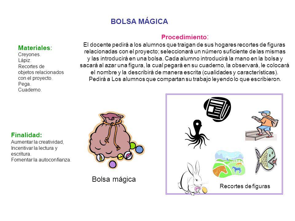 BOLSA MÁGICA Bolsa mágica Procedimiento: Materiales: Finalidad: