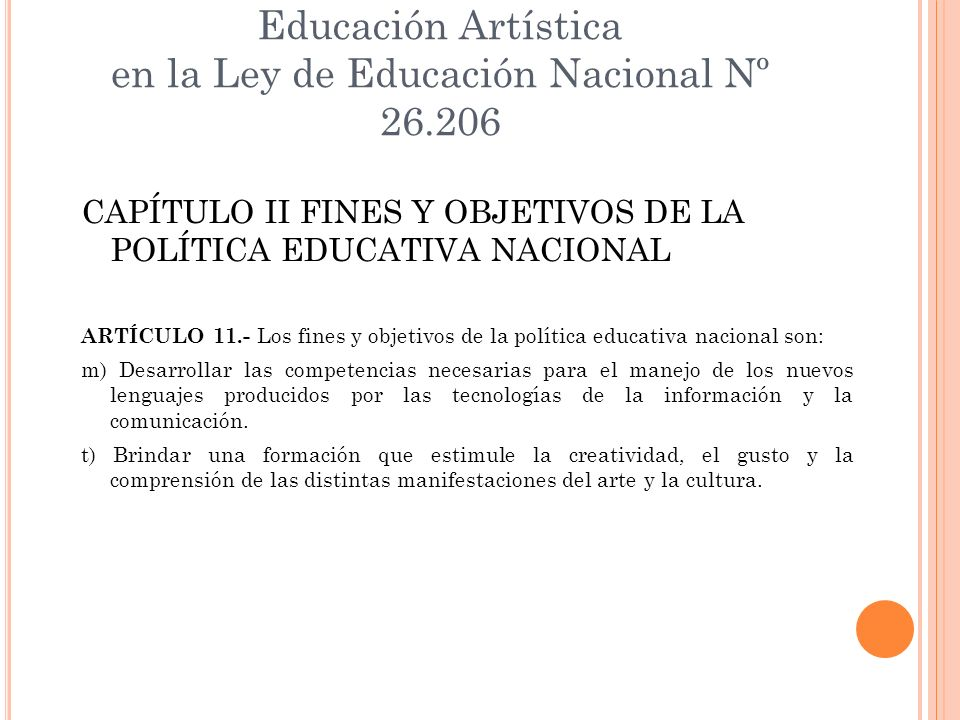 Educación Artística en la Ley de Educación Nacional Nº 26.206