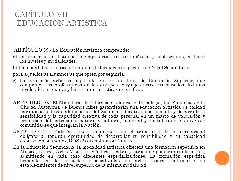 CAPÍTULO VII EDUCACIÓN ARTÍSTICA