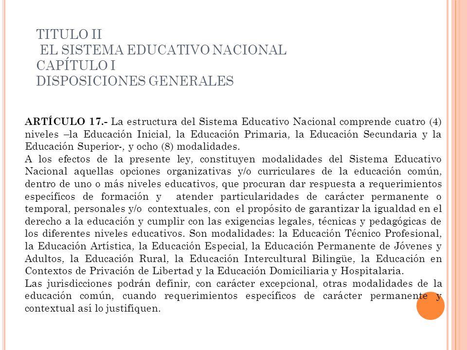 TITULO II EL SISTEMA EDUCATIVO NACIONAL CAPÍTULO I DISPOSICIONES GENERALES