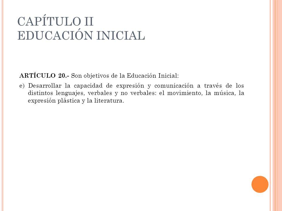 CAPÍTULO II EDUCACIÓN INICIAL
